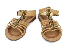Pair of brown leather female sandals Stock Photography