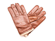 Pair Of Brown Leather Gloves Stock Photography