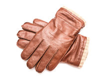 Pair Of Brown Leather Gloves Stock Images