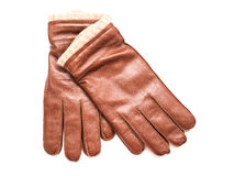 Pair Of Brown Leather Gloves Stock Photos