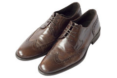 Pair of brown leather shoes Stock Images