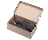 Pair of brown leather shoes in a box. (clipping path Stock Photography