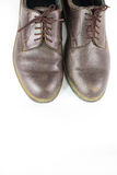 Pair  brown leather shoes isolated on white background , classic Stock Photos