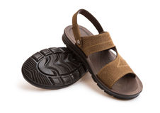 Pair of brown leisure sandal Royalty Free Stock Photography