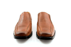 Pair of brown male business shoes Stock Photos