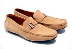 Pair of brown male mocassins Royalty Free Stock Image