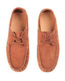 Pair of brown male moccasins. Over white background Stock Photos
