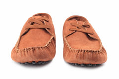 Pair of brown male moccasins Royalty Free Stock Photos