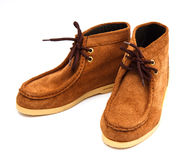 Pair of brown male moccasins Stock Photography