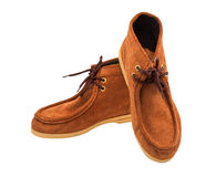 Pair of brown male moccasins Stock Image