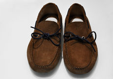 Pair of brown male moccasins. On the white background Stock Photo