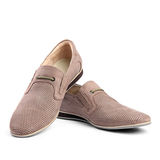 Pair of brown male shoes. On the white background Royalty Free Stock Image
