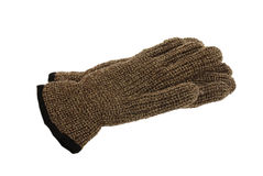 Pair of brown melange woollen gloves Royalty Free Stock Images