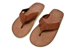 Pair of brown men's flip flop sandals. Isolated on white Royalty Free Stock Images