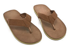Pair of brown men's flip flop sandals Royalty Free Stock Photography