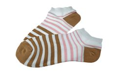 Pair Brown And Pink Striped Ladies Socks Stock Image