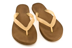 Pair of brown rubber flip flop sandals Royalty Free Stock Photos