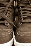 Pair of brown training shoes Stock Photo