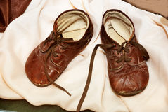 Pair of brown vintage childrens shoes Royalty Free Stock Photos