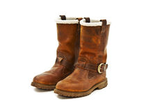 Pair of brown winter boots Royalty Free Stock Photo