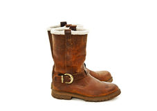Pair of brown winter boots Stock Photos