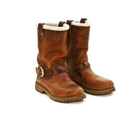 Pair of brown winter boots Stock Images