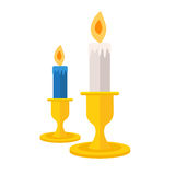 Pair of burning candles. Vector icon  illustration. Candlelight. Symbol in flat design Royalty Free Stock Photos
