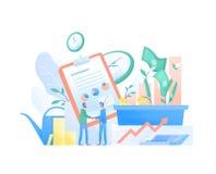 Pair of businessmen, entrepreneurs or investors shaking hands, stock exchange market graphs and money. Investment. Agreement or deal, funding. Colorful vector vector illustration