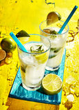 Pair of Caipirinha Cocktails with Fresh Lime Royalty Free Stock Images