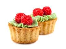 Pair of cakes basket with cream Royalty Free Stock Photo