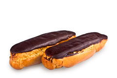 Pair of cakes, eclairs Stock Photos