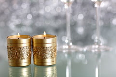 Pair of candles. Valentine card with copy space royalty free stock photography