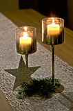 Pair of candles. With decoration Royalty Free Stock Image