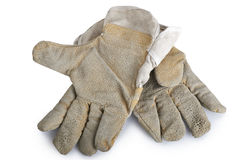 Pair of canvas and leather gloves Stock Photo