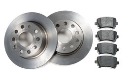 Pair of car brake discs and pads on white background Stock Photos