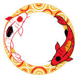 Pair of carp koi on Water graphic illustration Stock Image