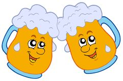 Pair of cartoon beers Royalty Free Stock Photography