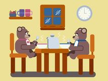 Cartoon brown bears eating soup at home. Pair of cartoon brown bears eating soup at home flat illustration Royalty Free Stock Image