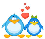 Pair of cartoon penguins in love Stock Image