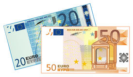 Pair of cash. Cash of euro with numers 50 and 20 Stock Photo