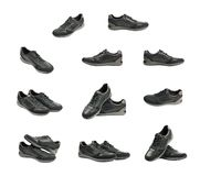 Casual black leather shoesisolated royalty free stock photography