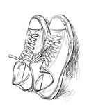 Pair of casual shoes. Hand drawing a pair of casual shoes - vector Stock Photo