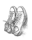 Pair of casual shoes with shade. Hand drawing a pair of casual shoes with shade - vector Stock Photos