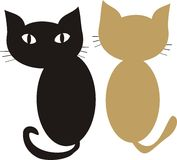 Pair of Cat. A black cat sit next to a golden cat Stock Illustration