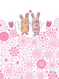 Pair Cat and Mouse Card Circle Flowers_eps Royalty Free Stock Images