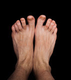 Pair of caucasian male feet isolated Stock Images
