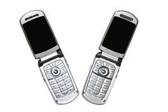 A Pair of Cell Phones/Isolated Royalty Free Stock Photography
