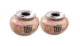 Pair of cement garbage on white backgrounds royalty free stock photo