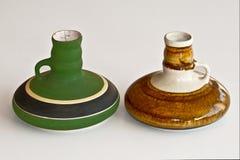 Pair of ceramic candlesticks Stock Photo