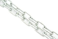 Pair of chains on white Stock Image